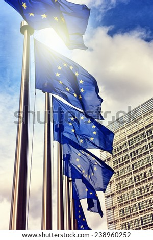 European Union flags on blue sky background - stock photo