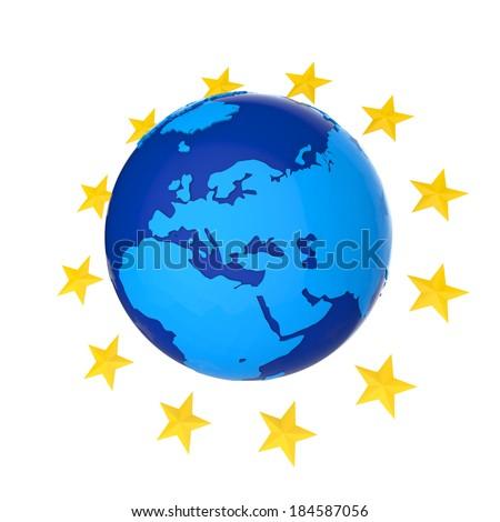 European Union Globe with Stars - stock photo