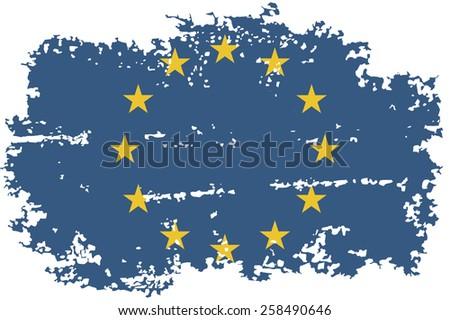 European Union grunge flag. Raster version - stock photo