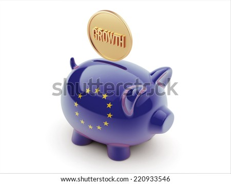 European Union High Resolution Growth Concept High Resolution Piggy Concept - stock photo