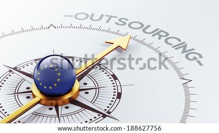 European Union High Resolution Outsourcing Concept - stock photo