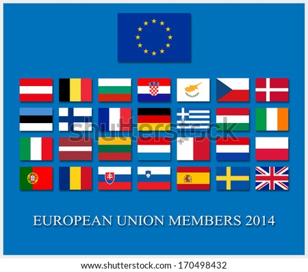 european union member countries flag set - stock photo