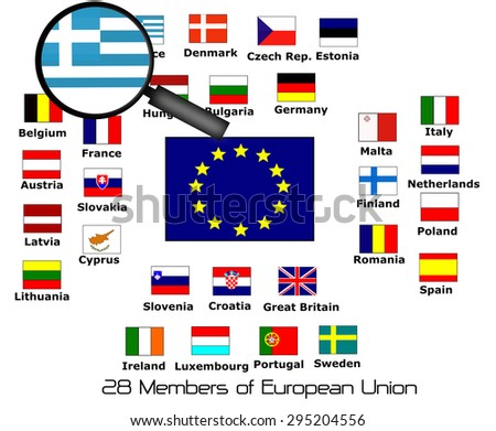 european union 28 members with magnifying greece - stock photo