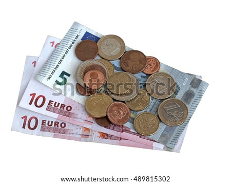 European Union money euro banknotes and coins close up isolated on white background.