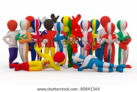 European Union. People in color of national flag of european country. 3d - stock photo