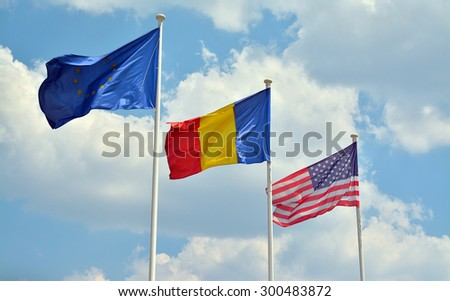 european union, romanian and american flags