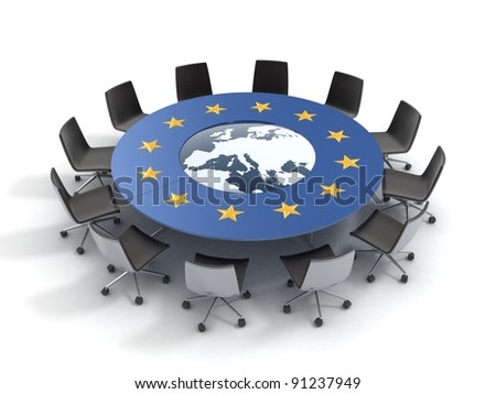 european union round table - EU meeting, conference, chamber, assembly 3d concept - stock photo