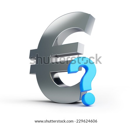 european union sign question mark on a white background - stock photo