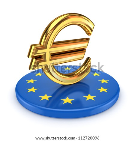 European Union symbol and euro sign.Isolated on wihte.3d rendered. - stock photo