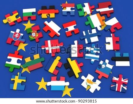 European union. White background, - stock photo