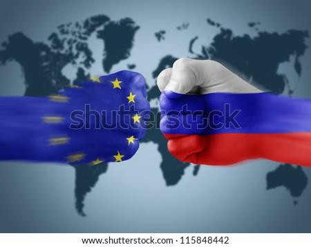 European Union x Russia - stock photo