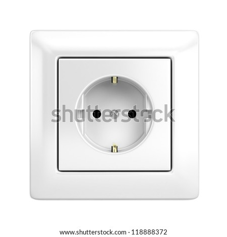 European wall outlet isolated on white - stock photo