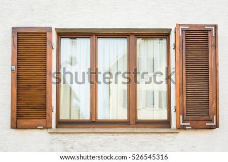 front window texture detail wooden window shutters open on stock illustration 128011169
