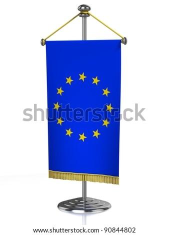 Europena Union table flag isolated on white - stock photo