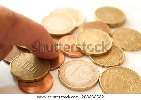 euros and cents coins closeup  - stock photo