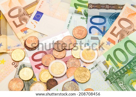 Euros banknotes and coins