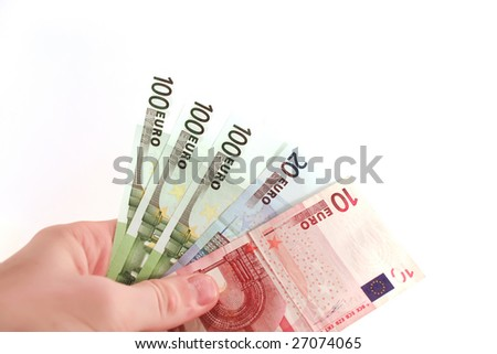 euros in hand Male isolated