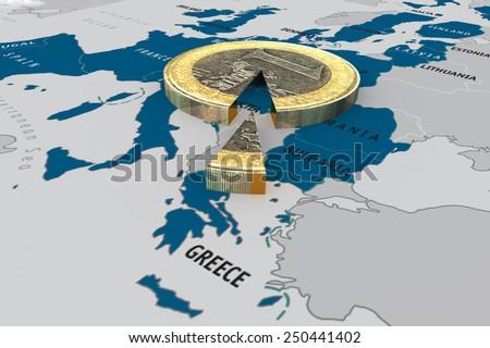 eurozone crisis -  euro slice on the map of European union - stock photo