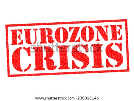 EUROZONE CRISIS red Rubber Stamp over a white background. - stock photo