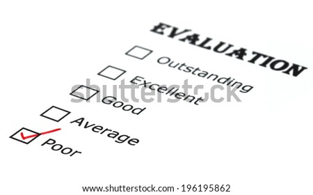 Evaluation check box on white paper