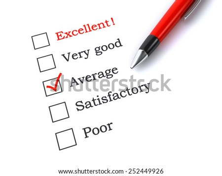 evaluation form with pen - stock photo