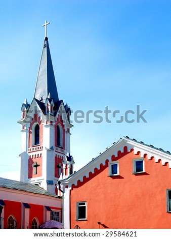 Evangelical-lutheran church against a blue sky