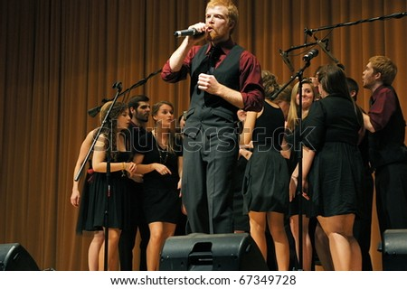 EVANSTON, ILLINOIS- NOVEMBER 13: A cappella singing group Redefined of the University of Wisconsin-Madison performs in The Best of the Midwest Concert on November 13, 2010 in Evanston, Illinois. - stock photo