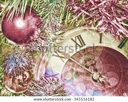 Eve of new year.Clock face and christmas balls.Toned image. - stock photo