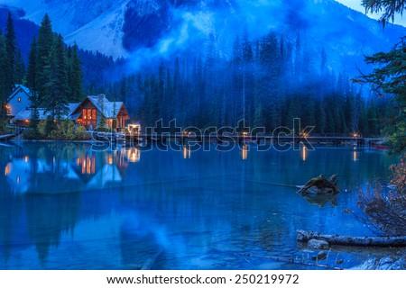 Evening at Emerald Lake - stock photo