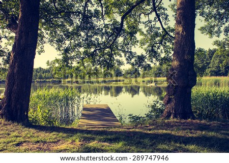 Evening at the Lakeshore - stock photo
