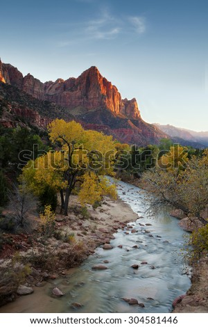 Evening at the Watchman in Utah's Zion National Park.