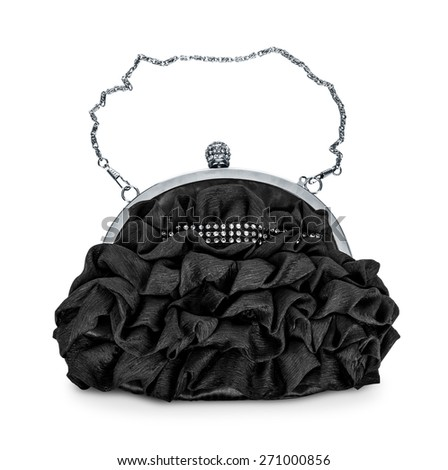 evening black handbag with silver chain isolated on white background - stock photo