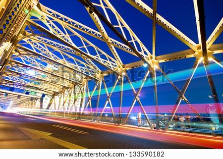 Evening Bridge in Shanghai, China - stock photo