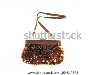 evening brown with sequins handbag isolated on white background - stock photo