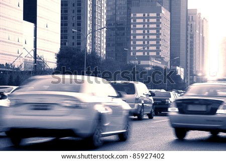 Evening busy city road - stock photo