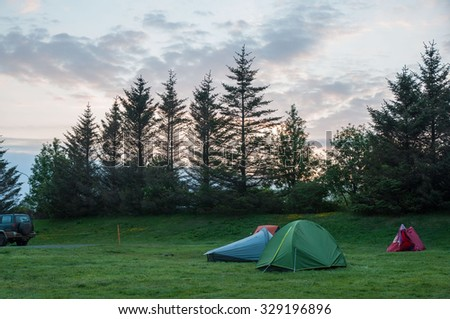 Evening camping in the Iceland woods. - stock photo