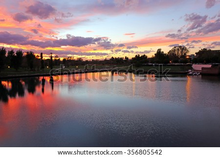 Evening city pond in Rimini. Italy