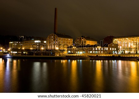 Evening cityscape of Lahti, Finland - stock photo