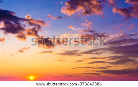 Evening Cloudscape Glowing  - stock photo
