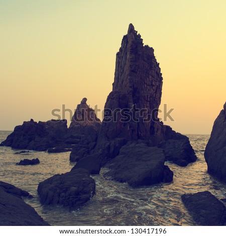 Evening coastline - stock photo