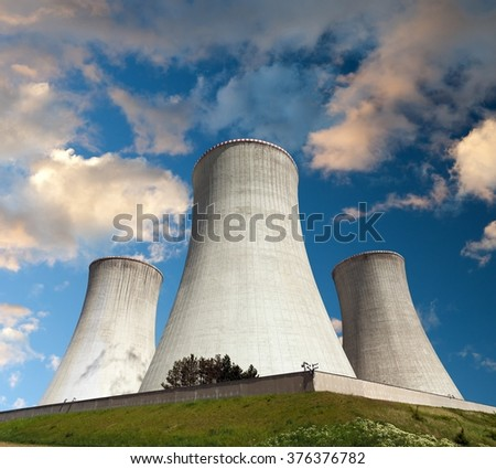Evening colored view of cooling tower - Nuclear power plant Dukovany