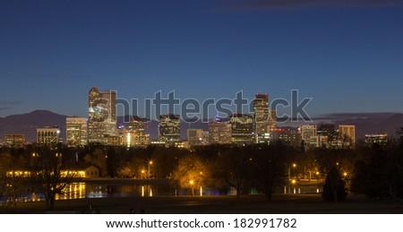 Evening Denver Skyline for City Park - stock photo