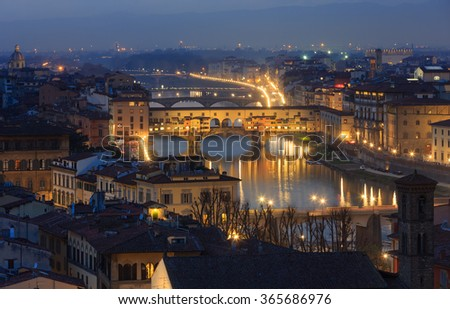 Evening Florence City top view (Italy, Tuscany) on Arno river.