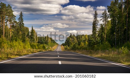 Evening forest road and clouded sky - stock photo