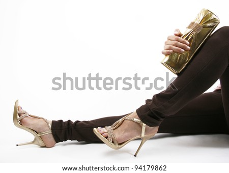 evening gold shoes and purse - stock photo