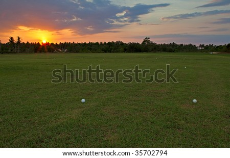 Evening golf - stock photo