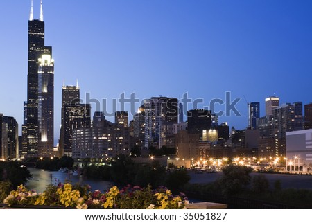 Evening in Chicago - seen from south side - stock photo
