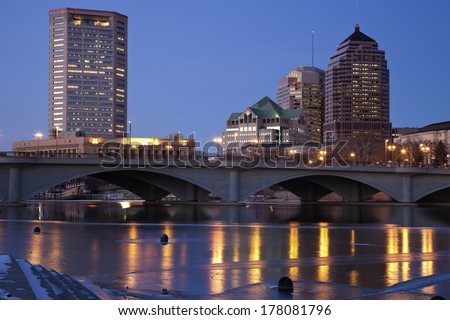Evening in Columbus, Ohio, USA. - stock photo