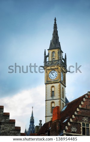 Evening in Gent, Belgium with view ofclock tower