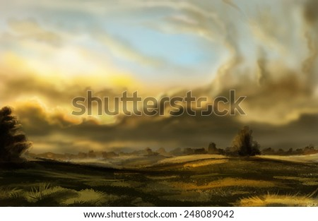 Evening landscape with beautiful clouds. Digital drawing. - stock photo